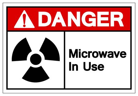 Danger Microwave In Use Symbol Sign, Vector Illustration, Isolate On White Background Label Çizim