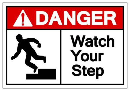 Danger Watch Your Step Symbole Signe, Illustration Vectorielle, Isolé Sur Fond Blanc Étiquette