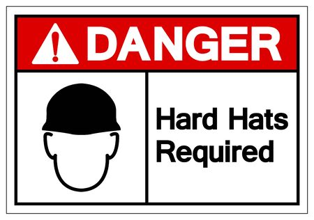 Danger Hard Hats Required Symbol Sign, Vector Illustration, Isolate On White Background Label