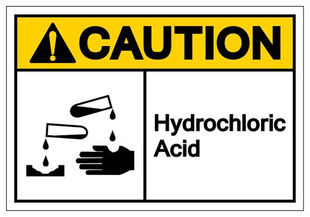 Caution Hydrochloric Acid Symbol Sign ,Vector Illustration, Isolate On White Background Label .EPS10