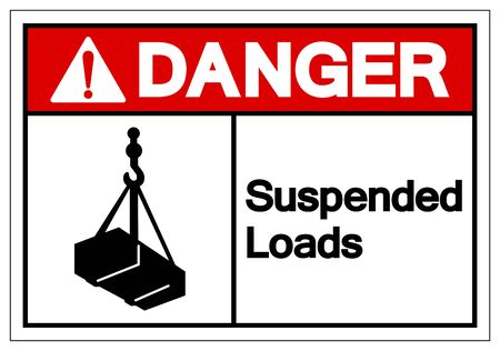 Danger Suspended Loads Symbol Sign, Vector Illustration, Isolated On White Background Label Çizim