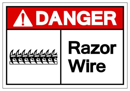 Danger Razor Wire Symbol Sign, Vector Illustration, Isolated On White Background Label