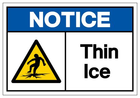 Notice Thin Ice Symbol Sign ,Vector Illustration, Isolate On White Background Label .EPS10