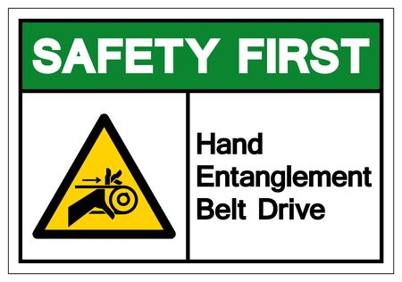 Safety First Hand Entanglement Belt Drive Symbol Sign, Vector Illustration, Isolate On White Background Label .EPS10