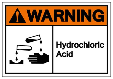 Warning Hydrochloric Acid Symbol Sign ,Vector Illustration, Isolate On White Background Label .EPS10 向量圖像