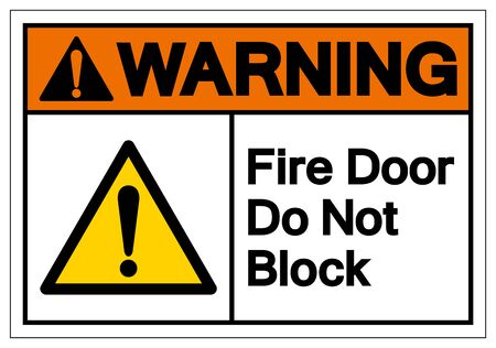 Warning Fire Door Do Not Block Symbol Sign ,Vector Illustration, Isolate On White Background Label .EPS10 向量圖像