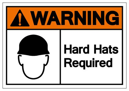 Warning Hard Hats Required Symbol Sign, Vector Illustration, Isolate On White Background Label. EPS10