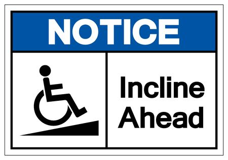 Notice Incline Ahead Symbol Sign ,Vector Illustration, Isolate On White Background Label .EPS10