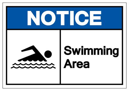 Notice Swimming Area Symbol Sign, Vector Illustration, Isolated On White Background Label