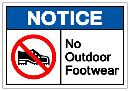 Notice No Outdoor Footwear Symbol Sign, Vector Illustration, Isolated On White Background Label