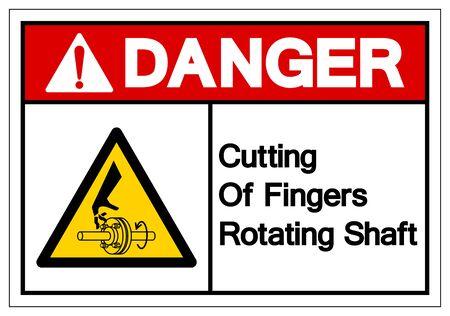 Danger Cutting of Fingers Rotating Shaft Symbol Sign, Vector Illustration, Isolate On White Background Label