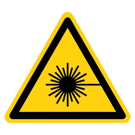 Méfiez-vous du symbole du faisceau laser, illustration vectorielle, isoler sur l'étiquette de fond blanc. Vecteurs