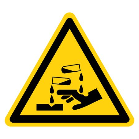Beware Corrosive Substance Symbol, Vector Illustration, Isolate On White Background Label.