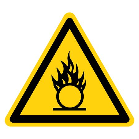 Beware Oxidizing Substance Symbol, Vector Illustration, Isolate On White Background Label.