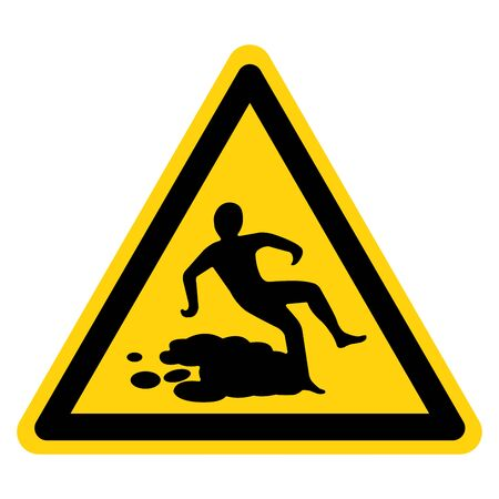 Beware Slippery Surface Symbol, Vector Illustration, Isolate white background Label. Stok Fotoğraf - 129774697