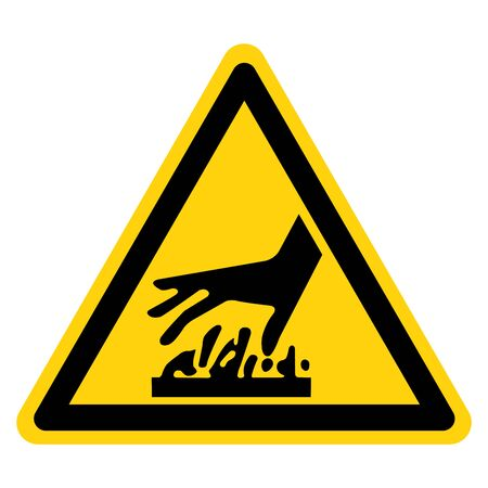 Tenga cuidado con el símbolo de superficie caliente, ilustración vectorial, aislar en etiqueta de fondo blanco.