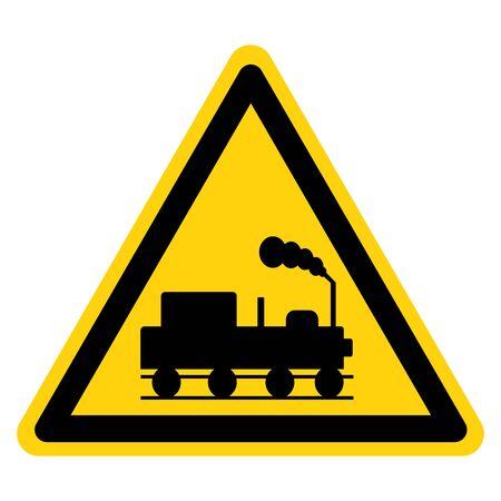 Danger Beware Of Trains Symbol Sign, Vector Illustration, Isolate On White Background, Label. Illusztráció