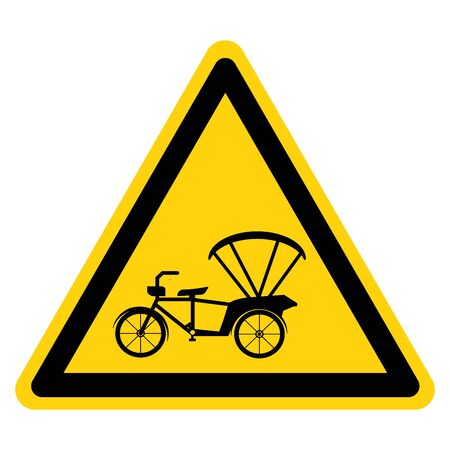 Beware Tricycle Symbol Sign,Vector Illustration, Isolate On White Background Label.