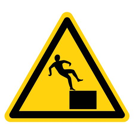 Beware High Level Drop Symbol Sign,Vector Illustration, Isolate On White Background Label. Illustration