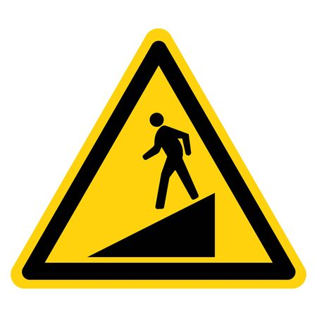 Beware Slope Symbol Sign,Vector Illustration, Isolate On White Background Label. Çizim