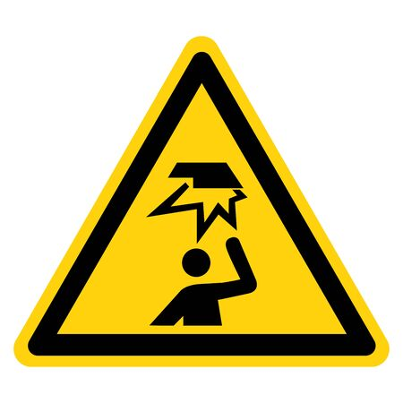Beware Overhead Obstacles Symbol, Vector Illustration, Isolate On White Background Label.