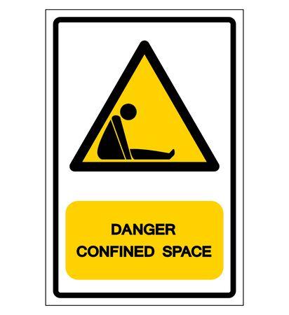 Signe de symbole d'espace confiné de danger, illustration vectorielle, isoler sur l'étiquette de fond blanc. Vecteurs