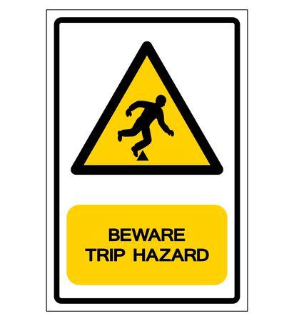 Signe de symbole de danger de voyage de danger, illustration de vecteur, isoler sur l'étiquette de fond blanc.