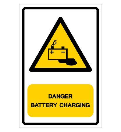 Danger Battery Charging Symbol Sign, Vector Illustration, Isolated On White Background Label Illustration