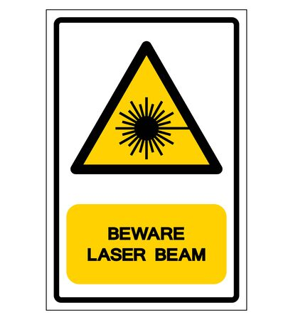 Beware Laser Beam Symbol, Vector Illustration, Isolate On White Background Label.