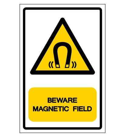 Beware Magnetic Field Symbol Sign, Vector Illustration, Isolate On White Background Label
