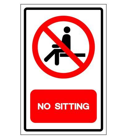Nessun segno di simbolo di seduta, illustrazione di vettore, isolato sull'etichetta bianca del fondo .EPS10
