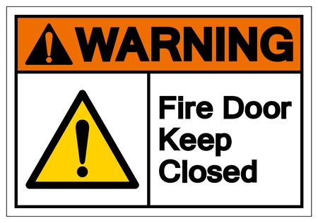 Warning Fire Door Keep Closed Symbol Sign ,Vector Illustration, Isolate On White Background Label. EPS10 Çizim