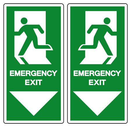 Emergency Exit Symbol Sign, Vector Illustration, Isolate On White Background Label. EPS10