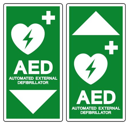 AED Automated External Defibrillator Symbol Sign, Vector Illustration, Isolate On White Background Label .EPS10