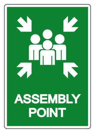 Znak symbolu punktu zbiórki, ilustracji wektorowych, na białym tle etykieta na białym tle .EPS10