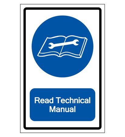 Read Technical Manual Symbol Sign,Vector Illustration, Isolated On White Background Label. EPS10