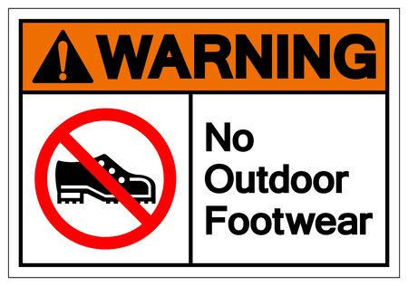 Warning No Outdoor Footwear Symbol Sign, Vector Illustration, Isolated On White Background Label .EPS10