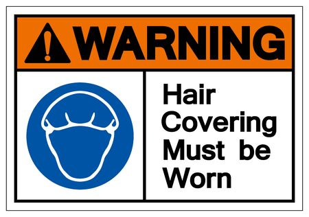 Warning Hair Covering Must Be Worn Symbol Sign, Vector Illustration, Isolated On White Background Label .EPS10 Illusztráció