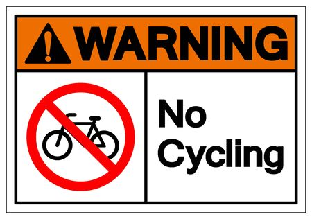 Warning No Cycling Symbol Sign, Vector Illustration, Isolated On White Background Label .EPS10 Ilustrace