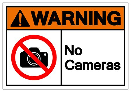 Warning No Cameras Symbol Sign, Vector Illustration, Isolated On White Background Label .EPS10