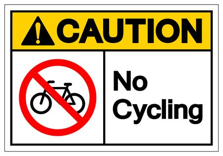 Caution No Cycling Symbol Sign, Vector Illustration, Isolated On White Background Label .EPS10