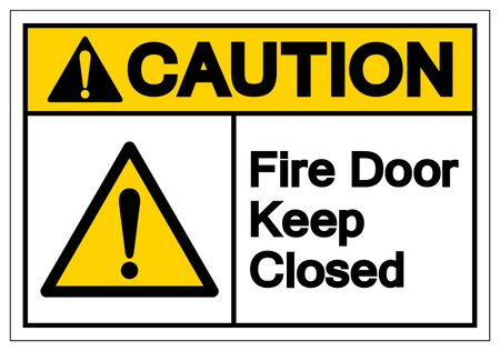 Caution Fire Door Keep Closed Symbol Sign ,Vector Illustration, Isolate On White Background Label. EPS10