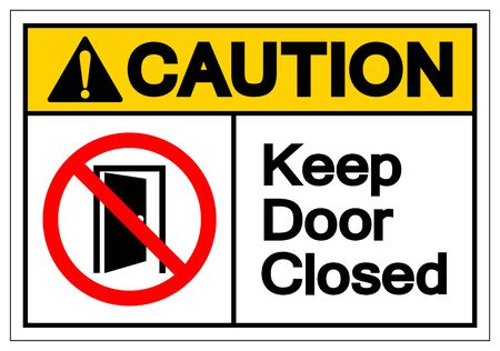 Caution Keep Door Closed Symbol Sign ,Vector Illustration, Isolate On White Background Label .EPS10 Ilustrace