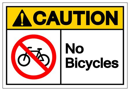 Caution No Bicycles Symbol Sign ,Vector Illustration, Isolate On White Background Label. EPS10