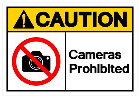 Caution Cameras Prohibited Symbol Sign, Vector Illustration, Isolated On White Background Label .EPS10