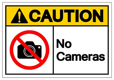 Caution No Cameras Symbol Sign, Vector Illustration, Isolated On White Background Label .EPS10 Ilustrace
