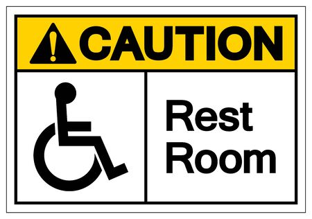 Caution Rest Room Symbol Sign, Vector Illustration, Isolated On White Background Label .EPS10