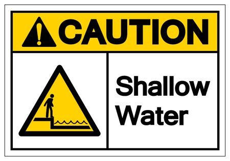 Caution Shallow Water Symbol Sign, Vector Illustration, Isolated On White Background Label .EPS10