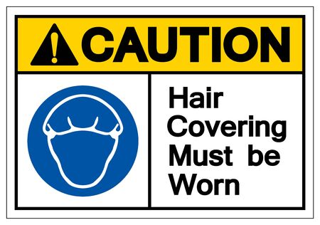 Caution Hair Covering Must Be Worn Symbol Sign, Vector Illustration, Isolated On White Background Label .EPS10