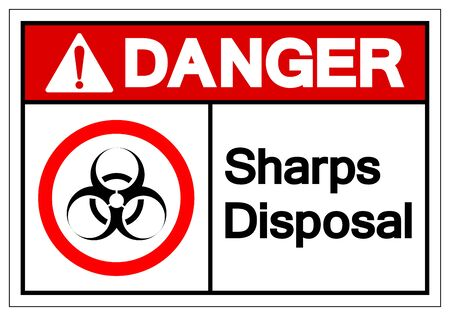 Danger Sharps Disposal Symbol Sign, Vector Illustration, Isolated On White Background Label .EPS10